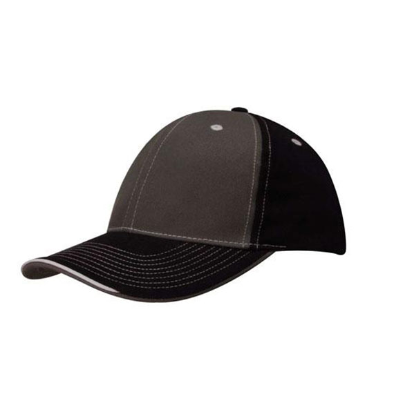 Brushed Heavy Cotton Two Tone Cap with Contrasting Stitching