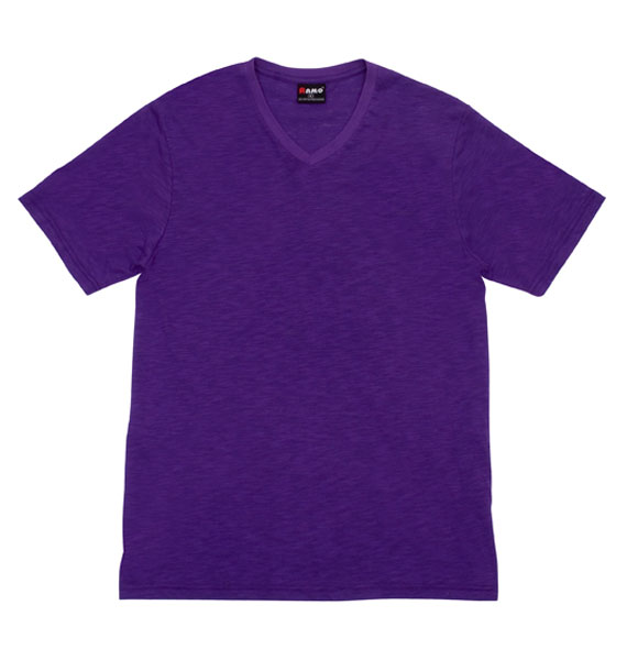 Mens Raw Cotton Wave V Neck T-shirt